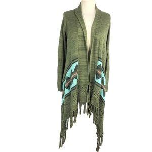Billabong S Fringed Aztec Border Flyaway Sweater